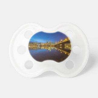 Portland OR Downtown city skyline Blue Hour Pacifier