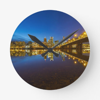 Portland OR Downtown city skyline Blue Hour Round Clock