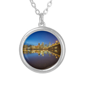 Portland OR Downtown city skyline Blue Hour Silver Plated Necklace