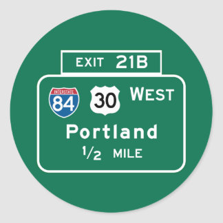 Portland, OR Road Sign Classic Round Sticker