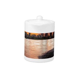 Portland OR Skyline along Willamette River Sunset