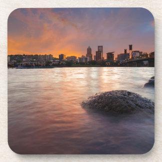 Portland OR Skyline along Willamette River Sunset Coaster