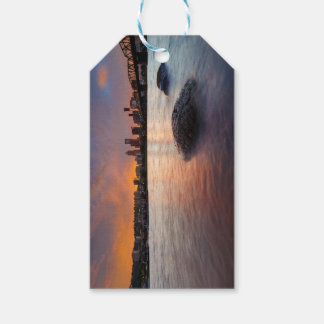 Portland OR Skyline along Willamette River Sunset Gift Tags