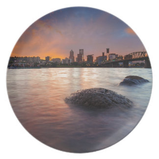 Portland OR Skyline along Willamette River Sunset Plate