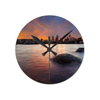 Portland OR Skyline along Willamette River Sunset Round Clock