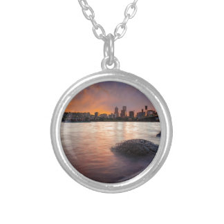 Portland OR Skyline along Willamette River Sunset Silver Plated Necklace