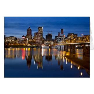 Portland Oregon at Night Card