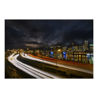 Portland Oregon Light Trails Night Scene Photo Poster