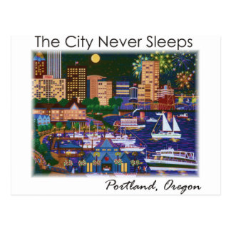 Portland Oregon @ Night Postcard