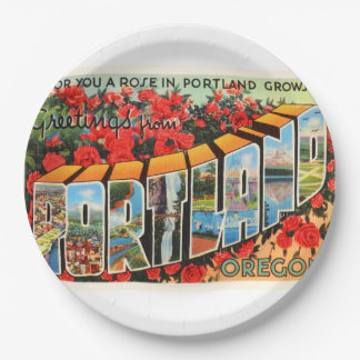 Portland Oregon OR Old Vintage Travel Souvenir Paper Plate