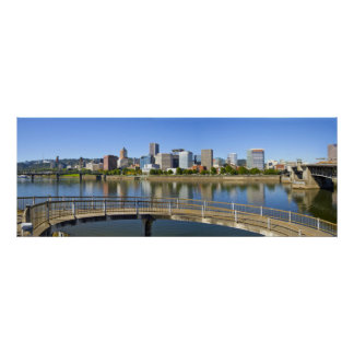 Portland Oregon Skyline Water Reflection Poster