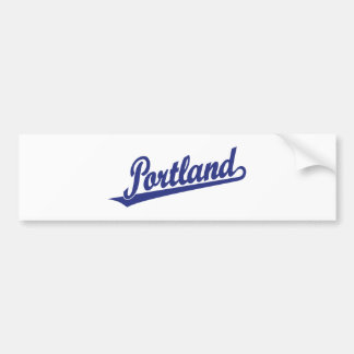 Portland script logo in blue bumper sticker