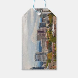 Portland Skyline and Mount Hood in Fall Season Gift Tags