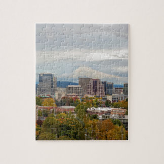 Portland Skyline and Mount Hood in Fall Season Jigsaw Puzzle