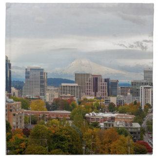 Portland Skyline and Mount Hood in Fall Season Napkin