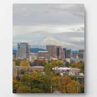 Portland Skyline and Mount Hood in Fall Season Plaque