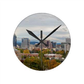 Portland Skyline and Mount Hood in Fall Season Round Clock