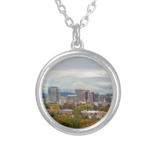 Portland Skyline and Mount Hood in Fall Season Silver Plated Necklace