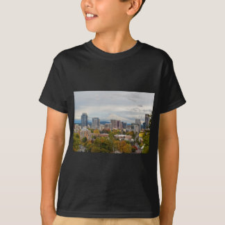 Portland Skyline and Mount Hood in Fall Season T-Shirt