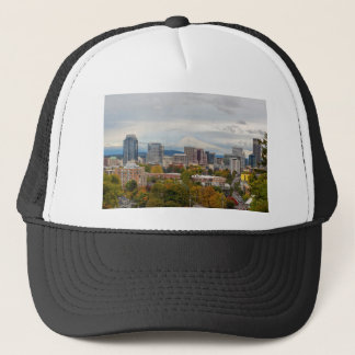 Portland Skyline and Mount Hood in Fall Season Trucker Hat