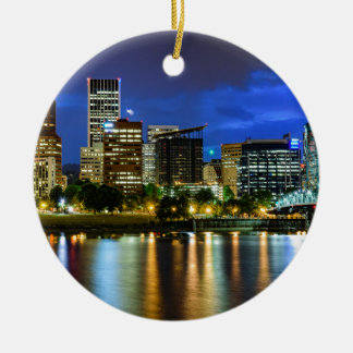 Portland Skyline at Dusk Ceramic Ornament