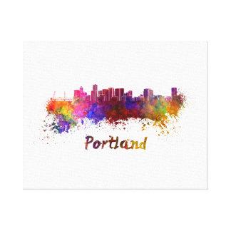 Portland skyline in watercolor canvas print