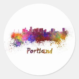 Portland skyline in watercolor classic round sticker