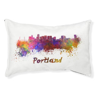 Portland skyline in watercolor pet bed