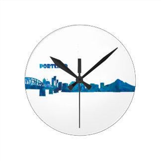 Portland Skyline Silhouette Round Clock