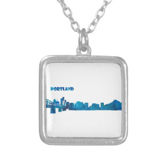 Portland Skyline Silhouette Silver Plated Necklace