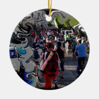 Portland Splash Round Ceramic Ornament