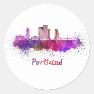 Portland V2 skyline in watercolor Classic Round Sticker