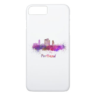Portland V2 skyline in watercolor iPhone 8 Plus/7 Plus Case