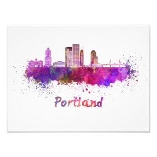 Portland V2 skyline in watercolor Photo Print