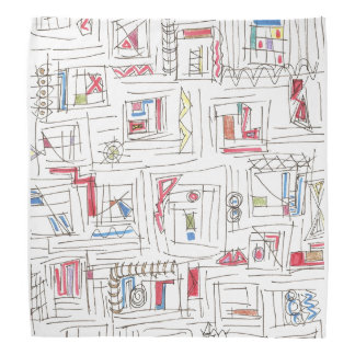 Portland-Whimsical Abstract Drawing Bandana