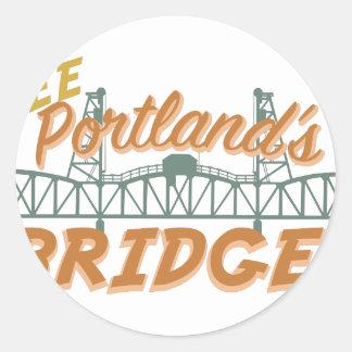 Portlands Bridges Round Sticker