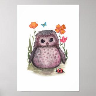 Portly Purple Owl and Ladybug Print