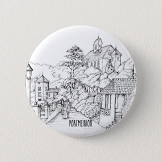 Portmeirion North Wales Pen and Ink Sketch 2 Inch Round Button