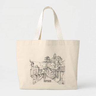 Portmeirion North Wales Pen and Ink Sketch Large Tote Bag