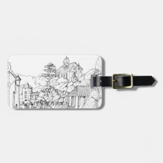 Portmeirion North Wales Pen and Ink Sketch Luggage Tag