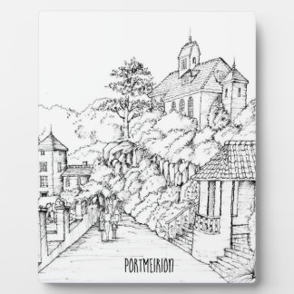 Portmeirion North Wales Pen and Ink Sketch Plaque