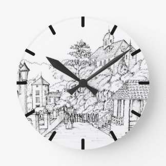 Portmeirion North Wales Pen and Ink Sketch Round Clock