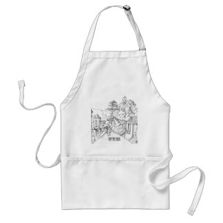 Portmeirion North Wales Pen and Ink Sketch Standard Apron