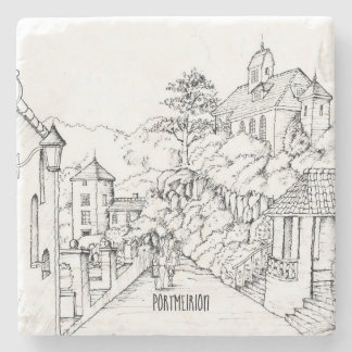 Portmeirion North Wales Pen and Ink Sketch Stone Coaster