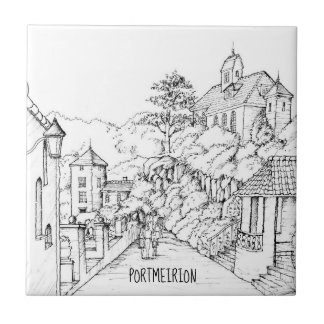 Portmeirion North Wales Pen and Ink Sketch Tile