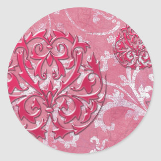 PORTO CRISTO: VINTAGE SHABBY LUXE in ROSE PINK Classic Round Sticker