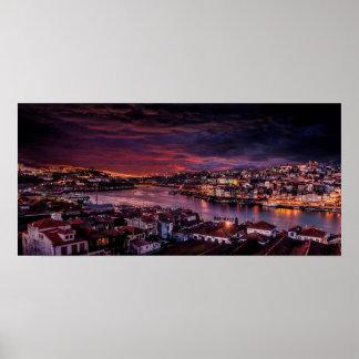 Porto Night Skyline Poster