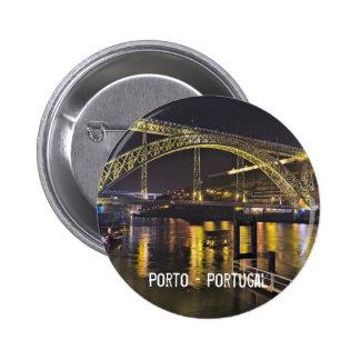Porto - Portugal. Night Scene Near Douro River 2 Inch Round Button