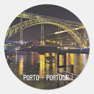 Porto - Portugal. Night Scene Near Douro River Classic Round Sticker