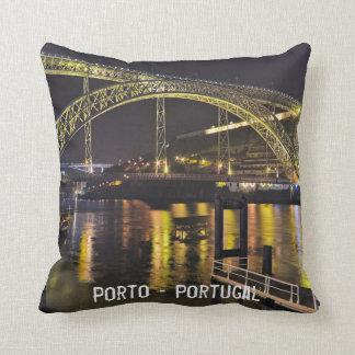 Porto - Portugal. Night Scene Near Douro River Throw Pillow
